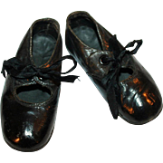 Little Shoes for a Little Girl ~ Black Leather w/ Silk Satin Ribbon Ties c1896