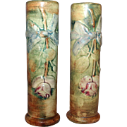 Pair of Weller Art Pottery Cylindrical Vases Woodcraft Flemish Rose 1917-28