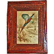 Deep Tramp Art Frame with Pheasant Print c1920