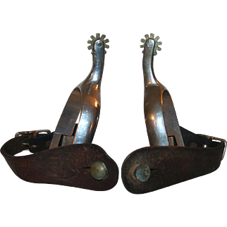 Antique Spurs, Coin Silver & Tooled Leather c1900