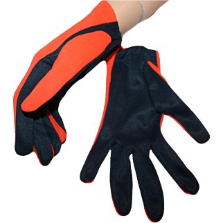 Mod Gloves From The 1960s ~ Bright Orange, Deep Navy Blue