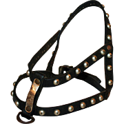 Period Deco Leather Halter for a Dog, Original Metal Fittings c1920