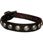Period Deco Leather Dog Collar, Metal Studs and Fittings c1920