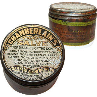 Milk Glass Jar Chamberlain's Salve c1910