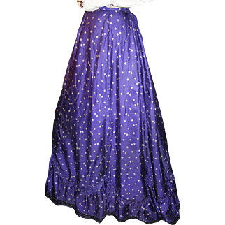 Victorian Walking Skirt in Calico c1885