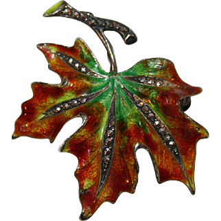Vintage Alice Caviness Pin Autumn Leaf in Sterling Silver, Enamels, Marcasite c1960
