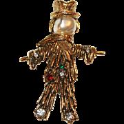 Scarecrow Pin w/ Baroque Pearl Head, Rhinestones ~ Signed Jeanne c1965
