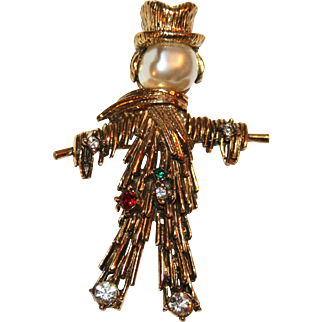 Scarecrow Pin w/ Baroque Pearl Head, Rhinestones ~ Signed Jeanne c1965