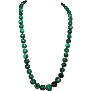 Opera Length Necklace w/ African Malachite Graduated Beads c1940-60