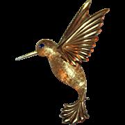Vintage Krementz Hummingbird Pin Mid-Century