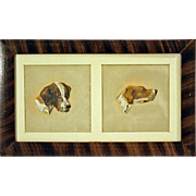 Hounds on Silk ~ Oil Paint c1920 in Grain Painted Frame