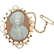 Shell Cameo of a Genteel Lady, Hand Carved, Mounted in Gold c1900