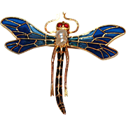 Dragonfly Brooch in 14kt Gold, Plique A Jour c1890-1914