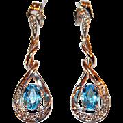 Drop Earrings in Blue Topaz, Diamonds, 14kt White Gold c1970