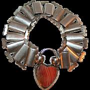 Heart Padlock Bracelet in Silver c1870