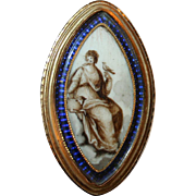 Miniature Portrait of a Woman, a Lamb and a Bird in 12kt Gold c1770