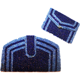 Kit-Made Heavily Beaded Clutch and Coin Purse c1930-40