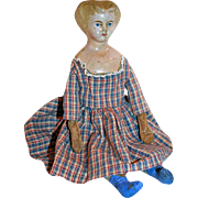 Papier Mache Doll in Blue Boots 19thC