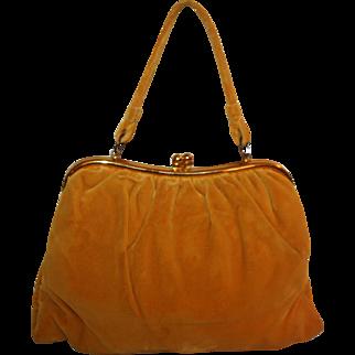 Gold Silk Velvet Handbag c1940s Silk Satin Lining