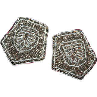 Art Deco Buckles of Cut Steel Beads, For Shoes c1920