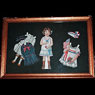 Framed Lady Liberty Nancy Paper Doll c1920 w/ Costumes