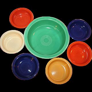 7-Pc Fiestaware Nappy Bowl, Fruit Bowls Signed, Original c1950