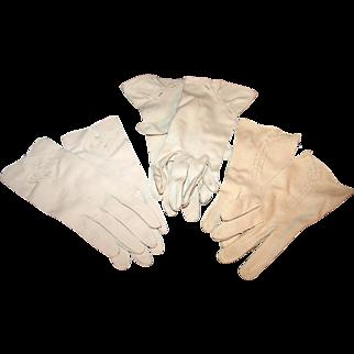 3 Pairs Vintage 1950s Gloves for Daytime Wear ~ Bone