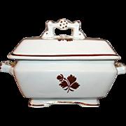 Ironstone 3-Pc. Butter Dish in Tea Leaf Pattern, A. J. Wilkinson, UK c1890