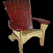 Folk Art Miniature Adirondack Chair in Great Paint ~ Mid-20th Century