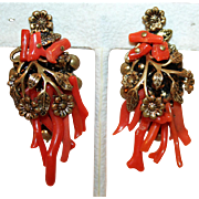 Spezatti Coral Earrings ~ Miriam Haskell Pre-Signature Years c1930