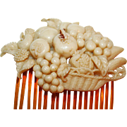 Early Celluloid Basket of Fruit Hair Comb c1940s Ex-Collection