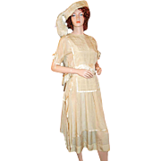 Deco Silk Ensemble ~ Tabard Dress, Plumed Hat c1920s