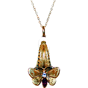 Golden Butterfly Necklace 15kt Gold, Garnet, Paste ~ Civil War Era c1865
