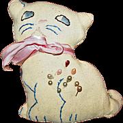 Vintage Twill Cat Pin Cushion c1950