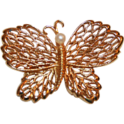 Vintage Napier Butterfly Pin with a Pearl