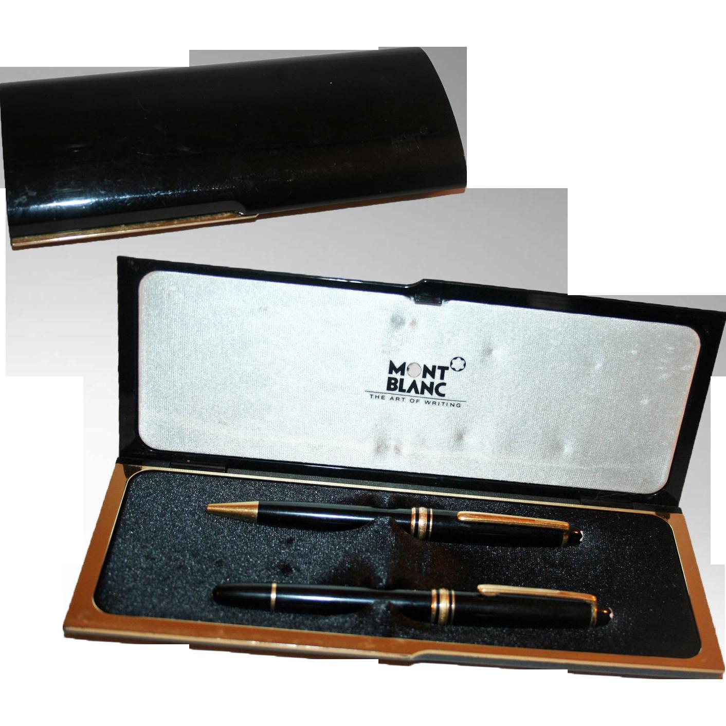 mont banc meisterstuck set fountain pen ball point pen in original from homefarmantiques on. Black Bedroom Furniture Sets. Home Design Ideas