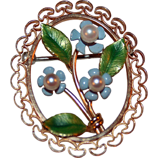 Bouquet of Forget Me Nots Vintage Pin by Krementz ~ Pearls, Enamels Gold