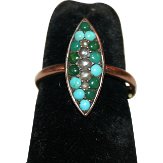 Georgian Navette Ring 12-14k Rose Gold, Turquoise, Pearls c1800-1830