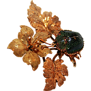 Victorian Masterpiece ~ Brazilian Beetle in 15-18kt Gold Brooch c1870