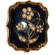 18kt Gold Forget-Me-Not Mourning Locket Brooch ~ Pearls, Diamond, Hair ~ Engraved ID, Dated 1844