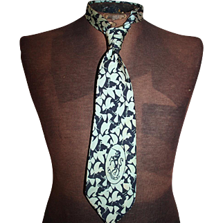 Vintage Silk Tie c1940 Brooke Cadwallader, Bronzini, Marshall Field