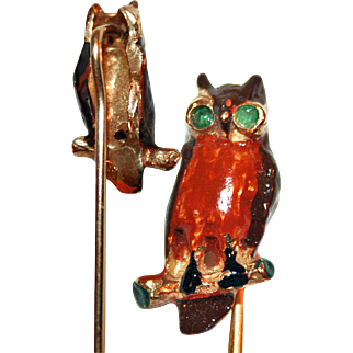 Owl Pin 14K Gold, Emerald Eyes, Enamels ~ Intriguing Stick, Stock, Tie Pin in Original Case