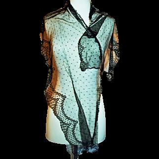Victorian Needlelace Bonnet Veil, Scarf or Wrap c1890