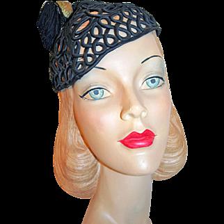 Period Art Deco Silk Passementerie Cap w/ Tassel, Glass Beads c1930