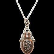 Miniature Silver Scent Bottle Pendant Necklace c1900