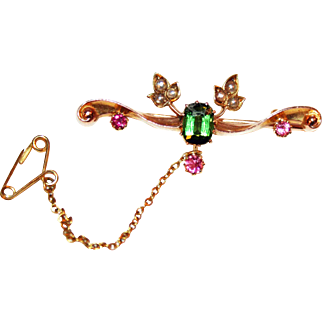 Antique Bar Pin 15kt Gold, Tourmalines, Pearls c1900