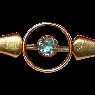 Antique Art Deco 15kt Gold Pin,   Aquamarine Bull's Eye c1920