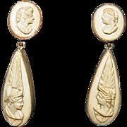 Ear Drops, Lava Cameos in Silver c1875