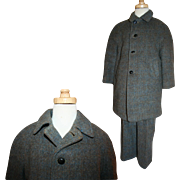 Vintage Heathered Wool and Cashmere Winter Suit: Coat and Snow Pants c1945 Boys