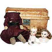 19th Century Doll Trunk w/ Leather Body Doll, 2 Heads, Parts +